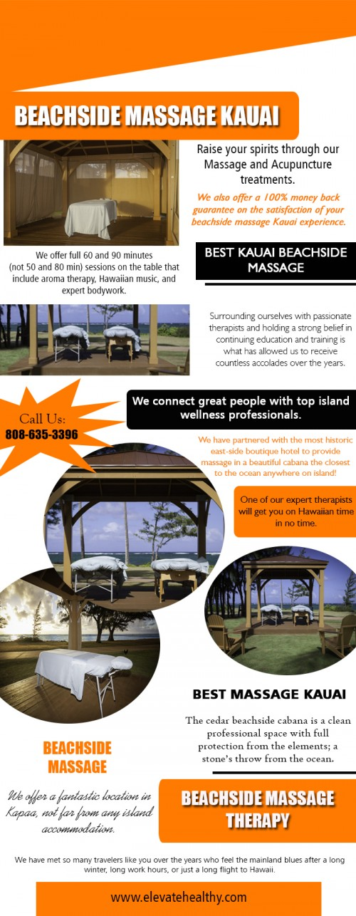 Our Website: https://www.elevatehealthy.com/product/beachside-massage-kauai/ Locating a strong Beachside Massage on Kauai has its very own collection of difficulties. All beaches are public, as well as no protective structures are enabled on the sand. As you can think of, the real-estate surrounding the coastline is in high need too. All beachfront building is owned by hotels or is multi-million dollar exclusive estates. We have actually partnered with the most historic east-side shop resort to offer massage in a stunning cabana the closest to the sea anywhere on island! There is no question why this location has actually become one of the most preferred on Kauai. Profile Links: http://www.imgpaste.net/user/kauaimassage More Links: https://magic.piktochart.com/output/23679864-beachside-massage-therapy https://magic.piktochart.com/output/23679897-beachside-massage https://magic.piktochart.com/output/23679911-best-kauai-beachside-massage