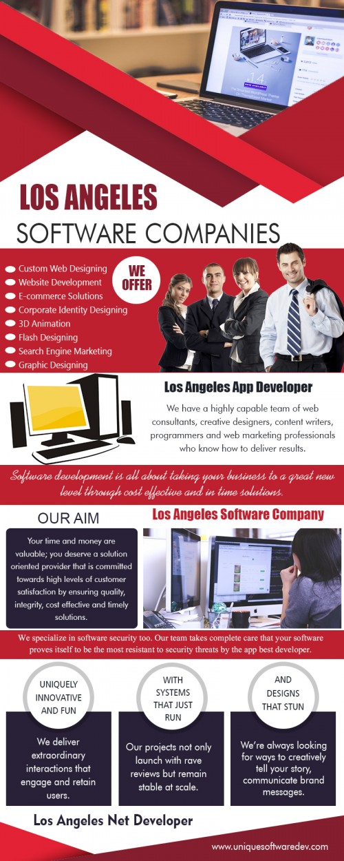 Our Site : http://www.uniquesoftwaredev.com/blog/los-angeles-software-companies/  You should choose Los Angeles net developer that provide the dedicated hiring service. On this platforms you have the freedom to hire net developers on full time, part time, or hourly basis. Also, the charges are one of the most affordable in the industry as you are not charged for the infrastructural expenses incurred by the company in bringing to you the services of some of the most professional net developers in the industry. MY social : https://twitter.com/dallasmobileapp More Links : http://dallassoftwarecompanies.page.tl/Los-Angeles-App-Developer.htm http://losangelesappcompany.joomla.com/ http://losangelesappcompany.angelfire.com/