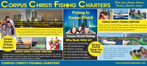 Check Out The Website https://www.charterboatbooker.com/location/united-states/texas/corpus-christi-fishing-charters/ for more information on Corpus Christi Fishing Charters. So when going for deep sea fishing in Corpus Christi, make sure you hire the best charters according to your budget and requirement. Also, confirm that they are fully certified by the coastal authorities and equipped with the latest fish locating technology. If you are Corpus Christi then you need to acquire a license from the concerned authorities as it is illegal to fish without a license. Follow us https://sites.google.com/site/neworleansfishingcharters/ http://gulfshoresfishingtrip.hatenablog.com https://sites.google.com/site/clearwaterdeepseafishing/