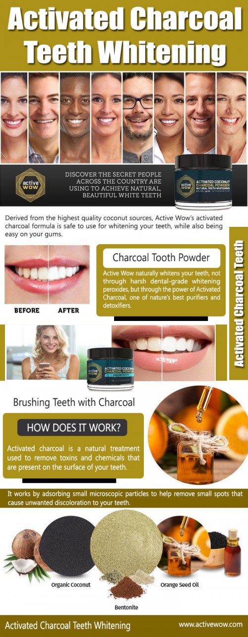 Our site : https://www.activewow.com/products/charcoal-powder-natural-teeth-whitening  Activated charcoal toothpaste is a natural treatment used to remove toxins and chemicals that are present on the surface of your teeth. It works by adsorbing small microscopic particles to help remove small spots that cause unwanted discoloration to your teeth. Aside from helping to remove stains from coffee, wine, and cigarettes, activated charcoal powder can also help with bad breath and help maintain good oral health. My Album : http://imgpaste.net/user/coconutcharcoal More Photos : http://imgpaste.net/image/uSSf3 http://imgpaste.net/image/uSVCU http://imgpaste.net/image/uSXqB