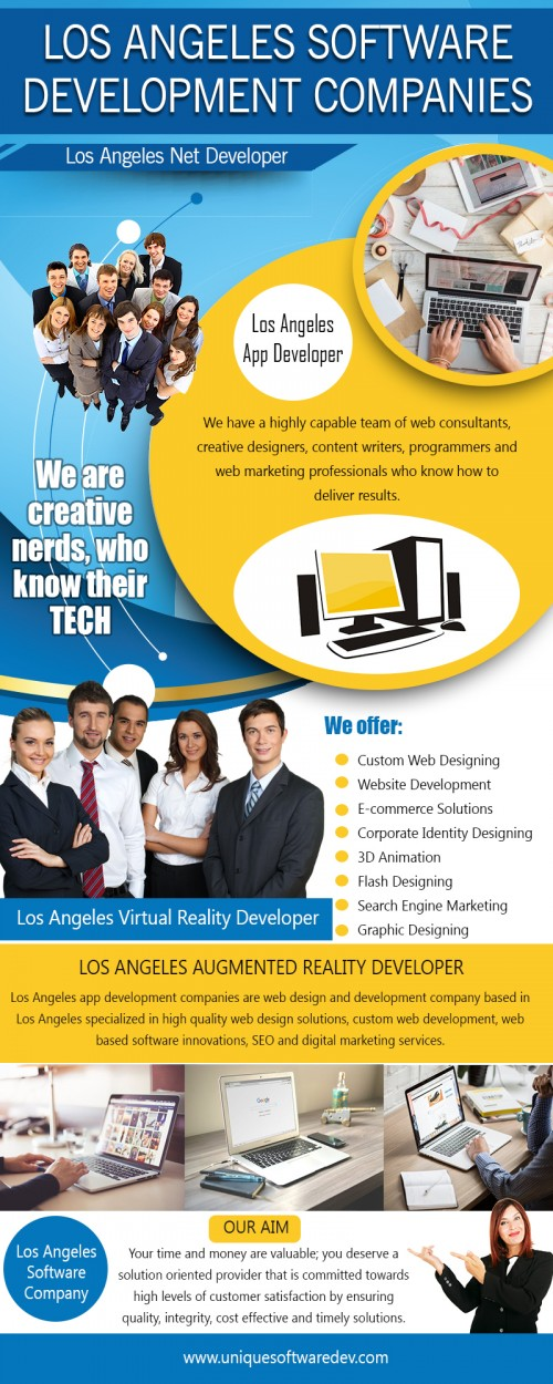 Our Site : http://www.uniquesoftwaredev.com/blog/los-angeles-software-development-companies/ Software companies help by providing knowledge so people can learn and prosper. We continuously strive for improvement to add new technology. We move fast in doing this to keep up with demand. Often we hold long term customer relationships. Los Angeles software companies have a very talented workforce that is used to help foster innovation. MY social : https://twitter.com/dallasmobileapp More Links : https://www.merchantcircle.com/blogs/los-angeles-app-companies-dallas-tx/2018/3/Los-Angeles-Software-Companies/1440376 http://losangelesappcompany.myfreesites.net/ https://losangelesappcompany.skyrock.com/
