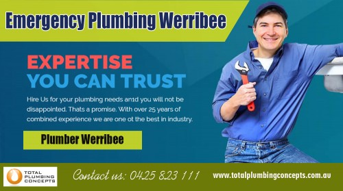 Find us:  https://goo.gl/maps/7DyfzQGeTwG2  Emergency plumbing in Werribee is known for many years of experience At http://totalplumbingconcepts.com.au/areas-we-services/  Company Name - Total Plumbing Concepts Owner Name - Nick McGuane Street Address - 35 Waters dr Seaholme Suite/Office - 2/21Gervis dr City - Werribee State - Vic Post Code - 3030 Primary Phone Number - 0425823111  Business Categories -   Plumbing Construction Residential Commercial Gas fitting General Plumbing  Primary Email - Info@totalplumbingconcepts.com.au  Secondary Email - nick.mcguane@bigpond.com  Brands - Reece Plumbing , Aquamax , Rinnai , Rheem ,  Products/Services - Hot water Installation, Gas fitter ,Drainage ,camera and jetting equipment  Year Established - 2010  Hours of Operation  Mon- to Fri 7-5,Sat 7-2,Sun Closed  Deals Us  Plumber altona Plumber Werribee  Plumber hoppers crossing Plumber tarneit Plumber Williamstown  Emergency plumbing in Werribee services is one of the essential services needed in every house today. This profession can be tough at times and should be handled professionally if the desired results are to be achieved. While some plumbing needs can be processed daily, some are complicated including the installation and repair of water pipes, taps, valves and washers among other things. Hiring a professional plumber is essential and comes with some benefits.  Social  https://www.storeboard.com/totalplumbingconcepts https://twitter.com/plumberwerribee https://www.businesslistings.net.au/Plumbing/VIC/Werribee/Total_Plumbing_Concepts/386289.aspx http://www.expressbusinessdirectory.com/Companies/Total-Plumbing-Concepts-C753083